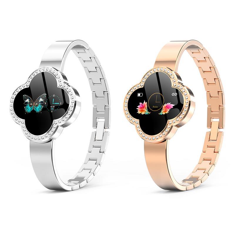 Femmes Bracelet intelligent à quatre feuilles trèfle cadran bijoux Bracelet sport Bracelet Bluetooth montres en alliage de Zinc coquille en acier sangle - 3
