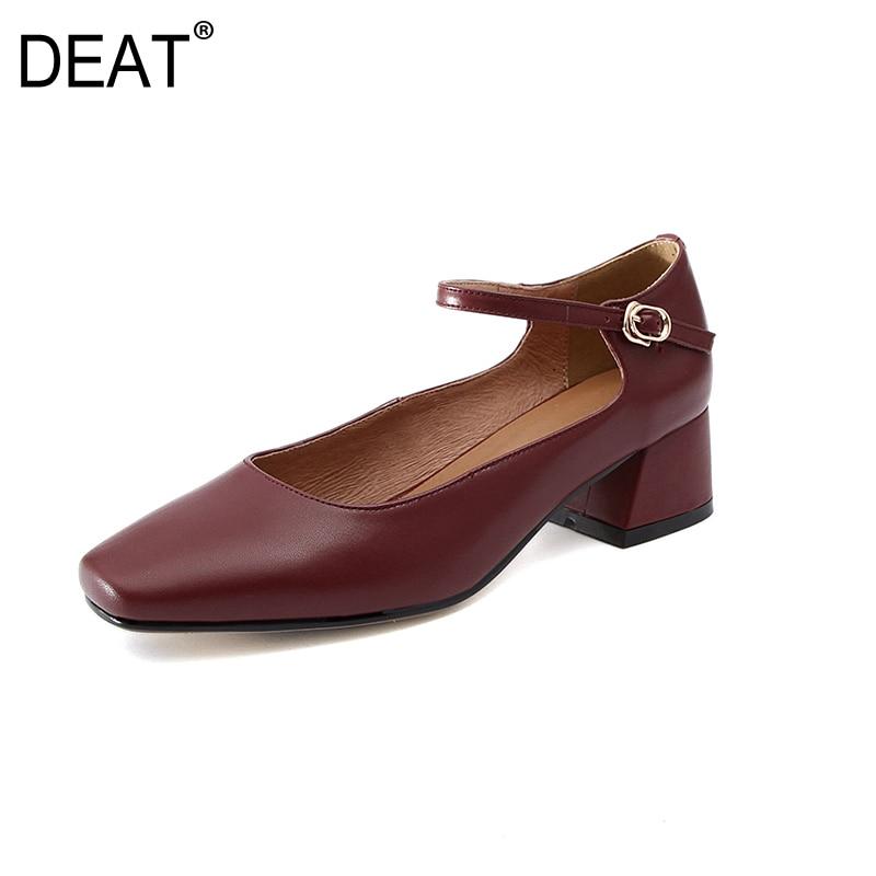 768ffbd8e9 nude Red Nueva De Superficial sordo Correa Del Cuero Color La Cuadrado  Zapatos Pie Black Tacones Moda ...