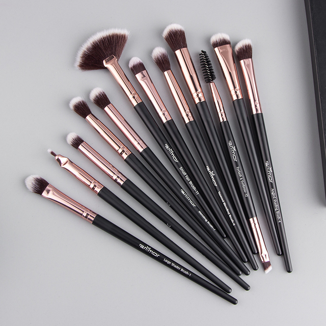 Anmor Pro Makeup Brushes Set 12 pcs/lot Eye Shadow Blending Eyeliner Eyelash Eyebrow Brushes For Make up Portable Eye Brush Set 3