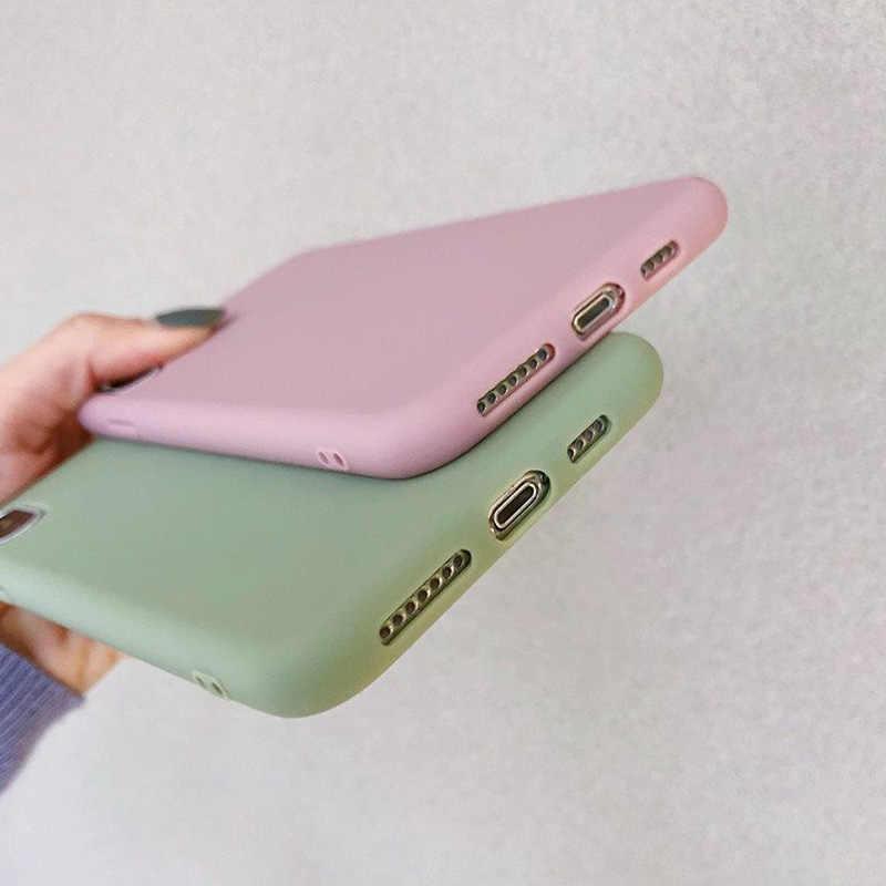 Funda de teléfono USLION Color caramelo para iPhone XS 11 Pro Max XR XS Max X funda de silicona lisa para iPhone 6 6S 7 8 Plus funda de TPU suave