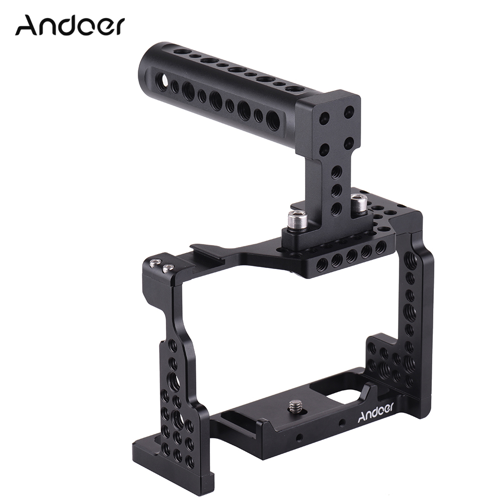 Andoer Camera Cage+Top Handle Kit Video Stabilizer Aluminum Alloy W/ Cold Shoe Mount For Sony A7II/A7III/A7SII/A7M3/A7RII Camera
