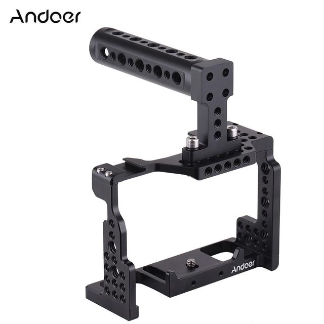 Andoer Camera Cage + Top Handle Kit Video Stabilizzatore Lega di Alluminio W/Fredda Shoe Mount per Sony A7II/ a7III/A7SII/A7M3/A7RII Macchina Fotografica