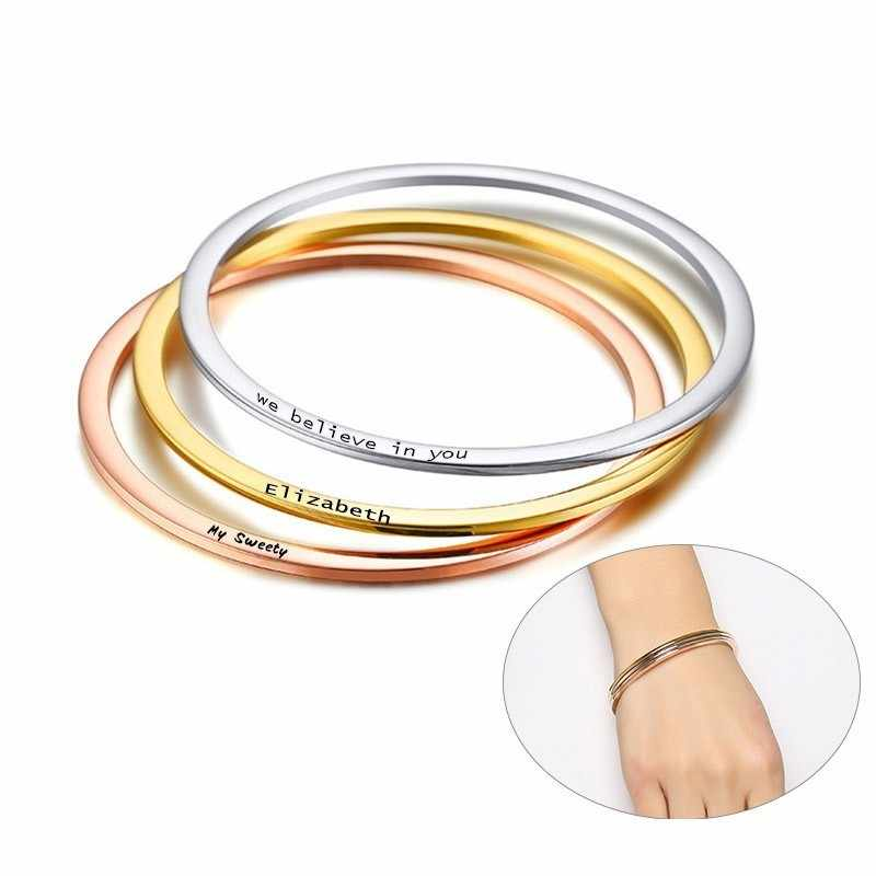 Elegant Thin Cuff Bracelets Bangle for Women Personalize Custom Engrave Stainless Steel Lady Girl Anniversary Gifts for Her