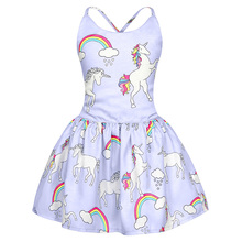 AmzBarley Cartoon Unicorn Dress Toddler girls Backless shoulder strap Tutu kids Casual summer clothing for Birthday Party