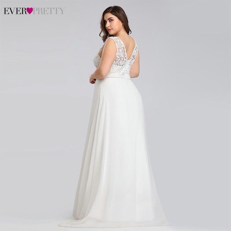 Image 2 - Ever pretty Plus Size Lace Wedding Dresses A Line Floor Length Sleeveless Illusion Elegant Wedding Gown 2019 Vestido De Noiva-in Wedding Dresses from Weddings & Events
