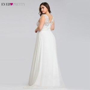 Image 2 - Ever pretty Plus Size Lace Wedding Dresses A Line Floor Length Sleeveless Illusion Elegant Wedding Gown 2020 Vestido De Noiva