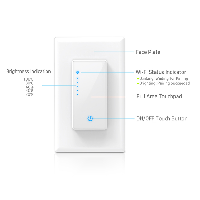 US $17 99 40% OFF|For Smart Life APP Phone Remote Control Compatible  Dimmable WiFi Switch US Plug Wall In Smart Switch For Alexa Google  Assistant-in