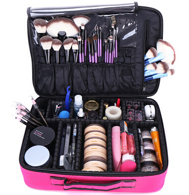 Professional Cosmetic Bags Cases Organizer Makeup Box Artist Larger Bags Suitcase Makeup Boxes Travel Cosmetic Pouch Handbag