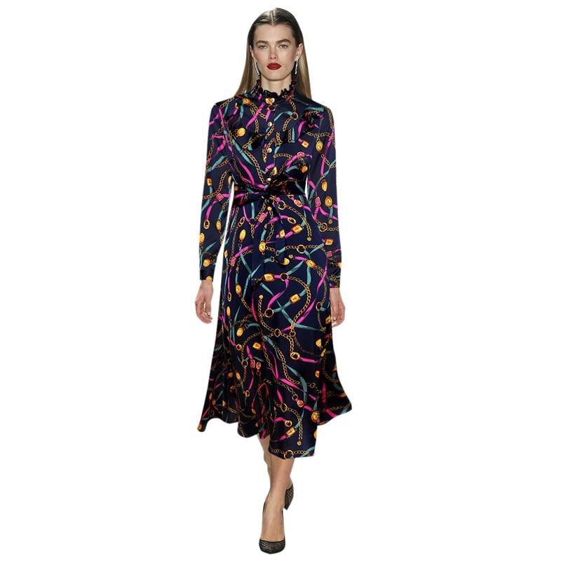 ladies dresses spring 2019 fashion chain print dress ruffled collar long sleeves tie waist tea length