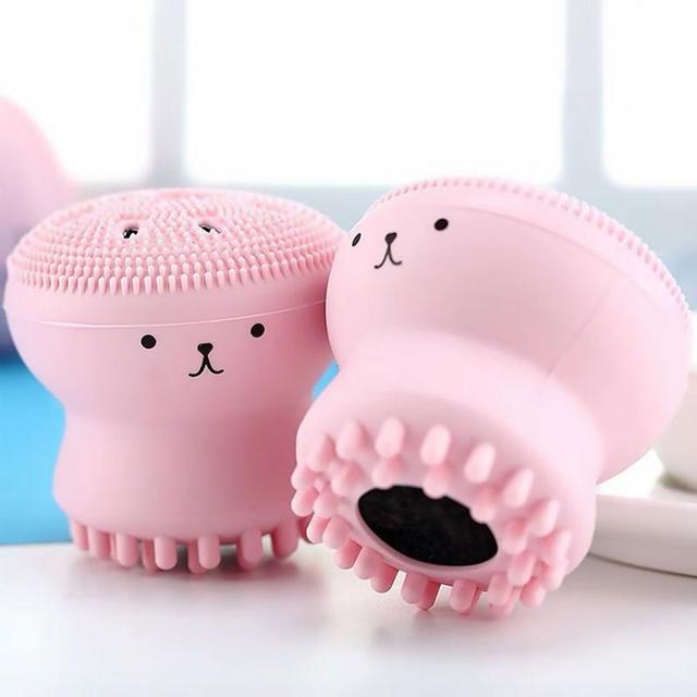 1Pcs Lovely Pink Jellyfish Shaped Silicone Octopus Face Deep Pore Cleanser Powder Puff Brush Skin Care Beauty Face Cleaner Brush