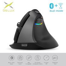 Delux M618 Mini Bluetooth 4.0 + 2.4Ghz Dual Mode Draadloze Muis Ergonomische Oplaadbare Silent Klik Verticale Muizen Voor Computer