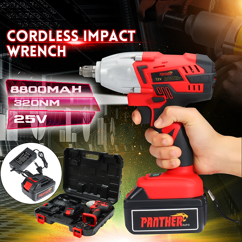 цена на 25V 8800Ah Li-ion Electric Impact Wrench Guns 320Nm High Torque Impact Wrench Cordless 1/2 Batteries 1 Charger Power Tool