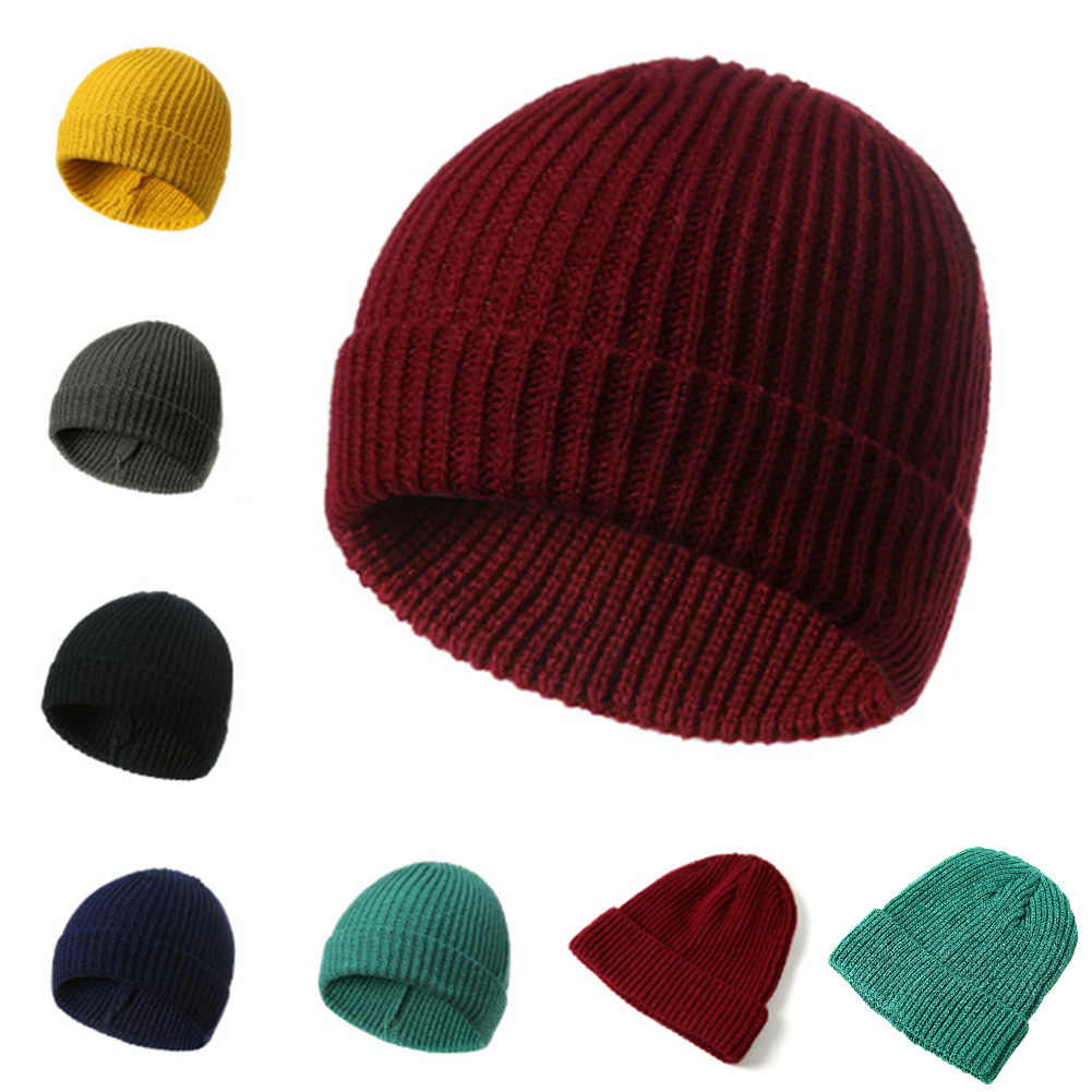 Free Shipping Fashionable Knit Black Hats Autumn Hats Thick And Warm Hats   Skullies   Peas Soft Knitted Woolen Cotton   Beanie