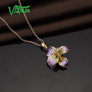 Image 5 - VISTOSO כסף שרשראות תליוני לנשים 925 סטרלינג כסף זהב צבע פרח תליון תכשיטים טרנדי בעבודת יד אמייל