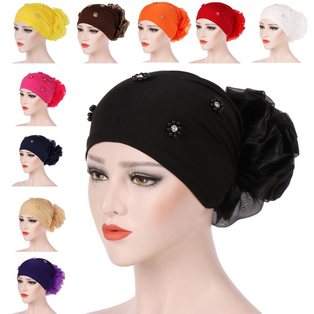 New Women Hair Loss Cap Beanie Skullies Flower Pearls Muslim Cancer Chemo Cap Islamic Indian Hat Cover Head Scarf Fashion Bonnet