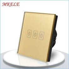 Hot Sale EU Standard 3 Gang 1 Way Touch Switch Gold Screen Wall Socket For Lamp Quality Assurance
