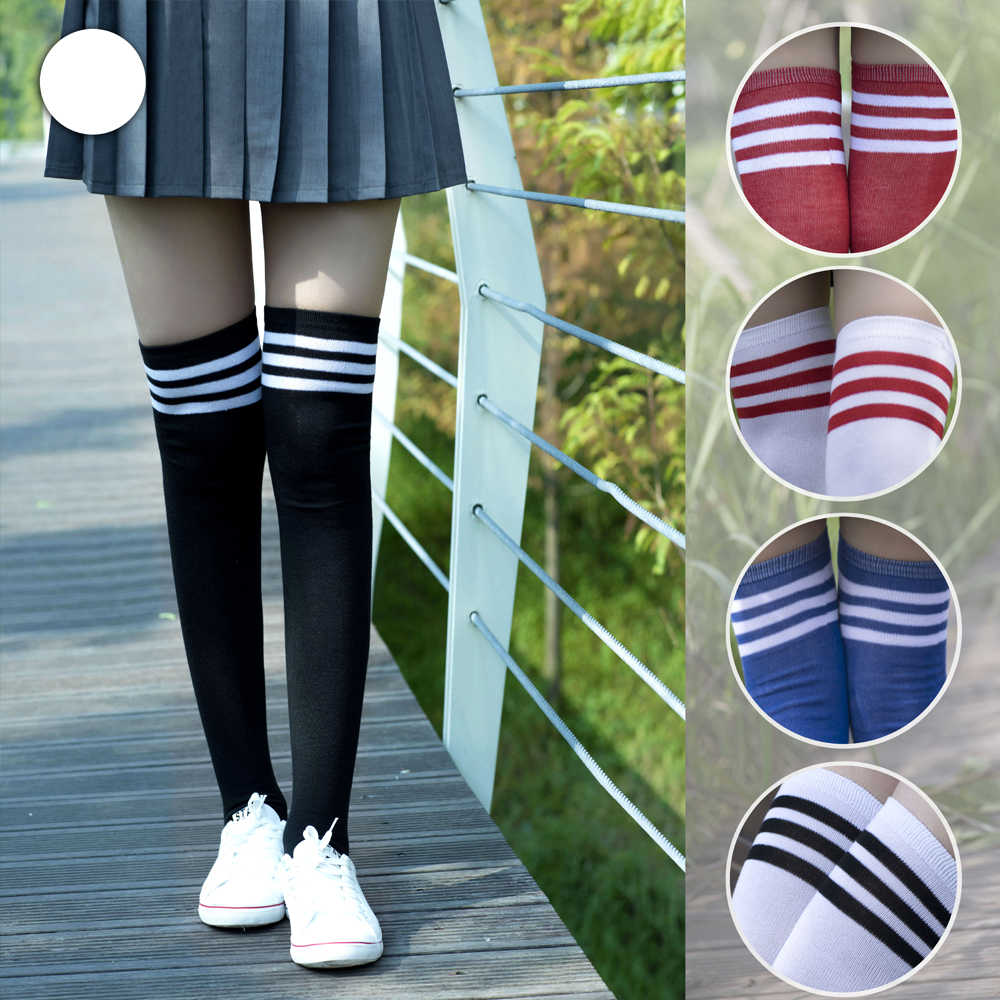 Long socks women Thick Polyester Stockings with Three Edge Lines Schoolgirl