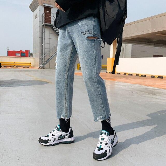2020 koreański styl męska przywrócić otwory dorywczo spodnie fala Baggy Homme klasyczne mycia dżinsy jasnoniebieski kolor Biker Denim