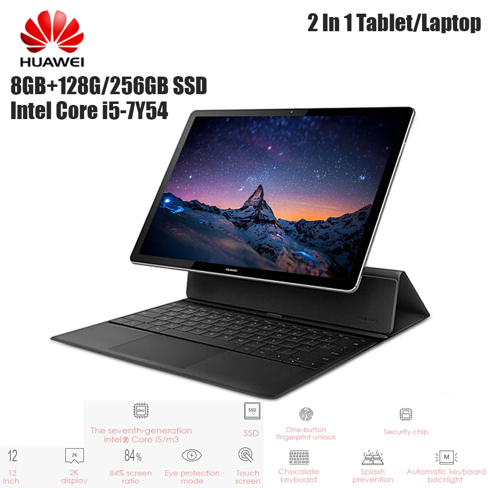 "HUAWEI MateBook E 2 In 1 Tablet PC 12"" Laptop Windows 10 OS Intel Core I5-7Y54 Dual Core 1.2GHz 8GB 256GB Touch Screen Notebook"