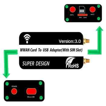 Mini PCI-E Wireless Card to USB Adapter Card with SIM Card Slot