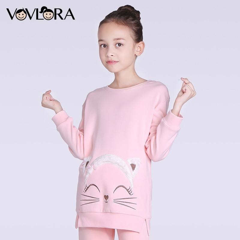 Baby girls sweatshirts kids tops long sleeve fleece children sweatshirts cotton o-neck pink cat winter 2017 size 4 5 6 7 8 years side bowknot embellished plus size sweatshirts page 6