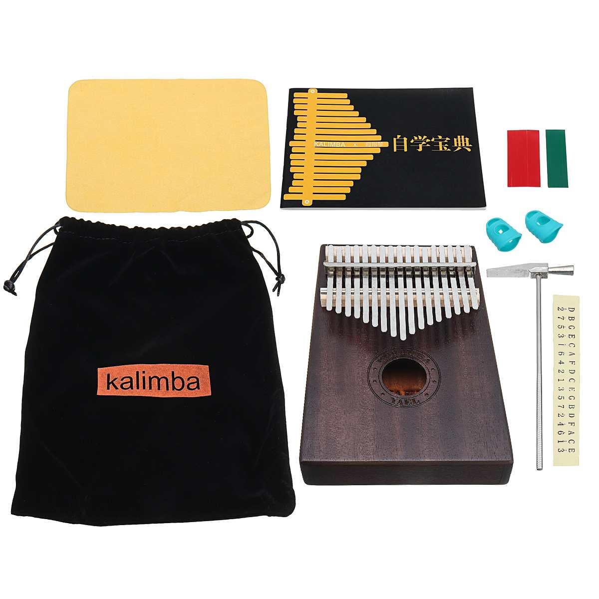 17 Key Kalimba African Solid Mahogany Thumb Finger Piano 17 Keys Solid Wood Kalimba Mbira Thumb With Bag And Learning Book