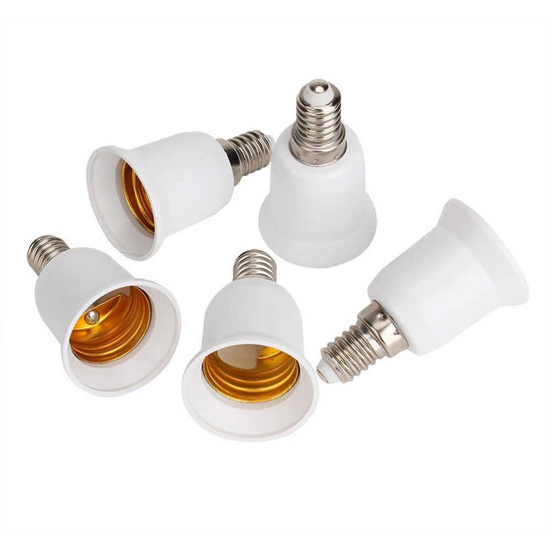 5 pcs E14, E27 Adapter Base Screw LED Light Bulb Bulb Socket Converter, White