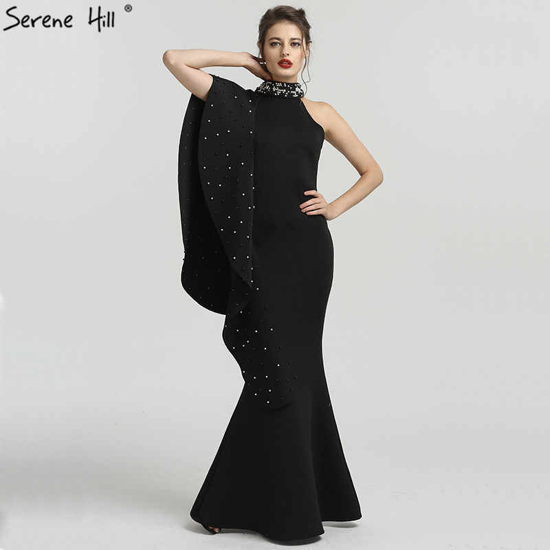 Detail Feedback Questions about Newest Design Black High Neck Mermaid  Evening Dresses 2019 Elegant Pearls Sleeveless Long Formal Dress Serene  Hill QA8024 on ... 46d606076c1c