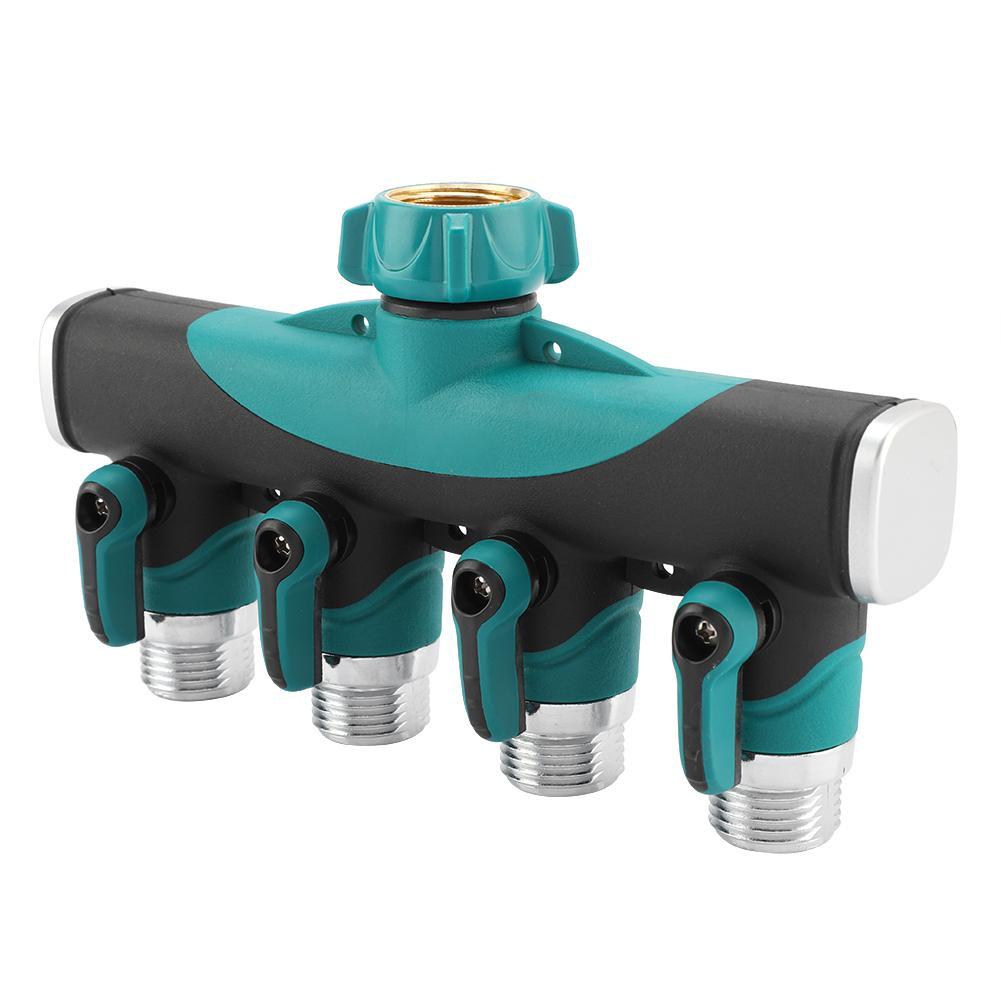 3//4 4 Way Hose Connector Splitter Garden Water Splitter Faucet Adapter Hose Shut Off Valve for Home Garden