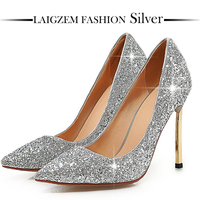 LAIGZEM SEXY Women Heels Sequined Metal Stiletto Pointy Toe Pumps Glitter Party Wedding Shoes Woman Chaussure Sapato Feminino