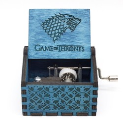 HOT 30 style Antique Carved Wood Game Of Thrones Star wars Music Box Hand Crank Theme Music Birthday gift,Christmas gift