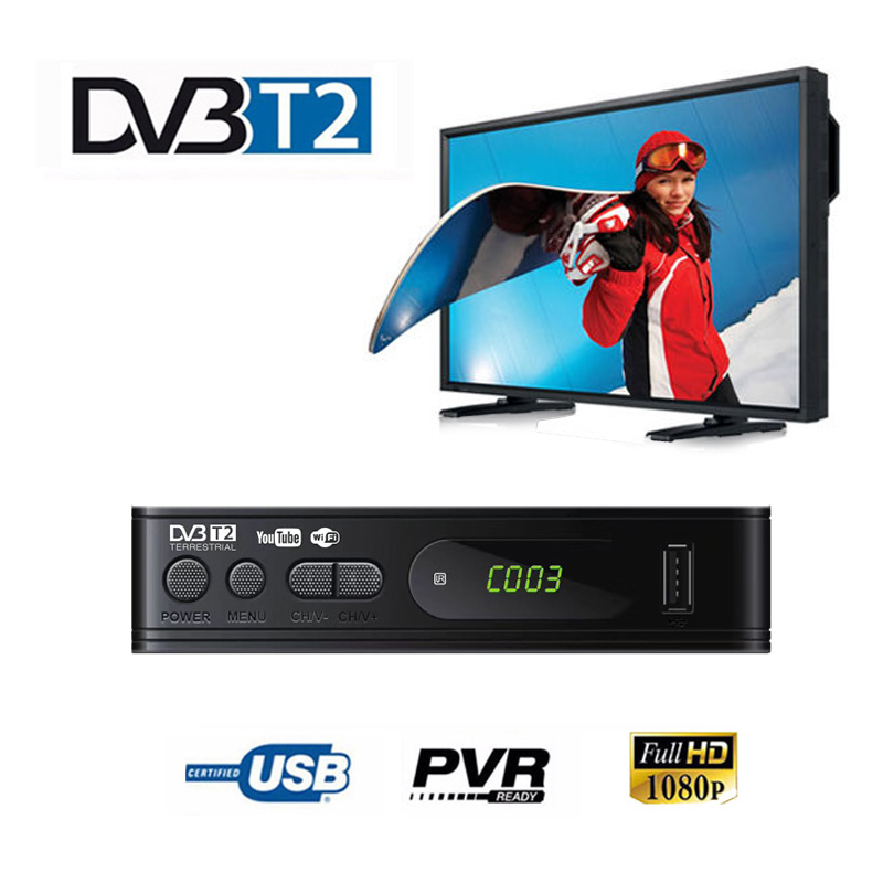 DVB-T2 Tuner Receiver HDMI HD 1080PSatellite Decoder TV  TV Tuner DVB T2 DVB C  USB Built-in Russian Manual For Monitor Adapter