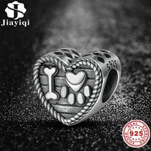 Jiayiqi Authentic 925 Sterling Silver Lovely Heart Charm Beads Fit Bracelet Pendant Authentic DIY Jewelry Making Women Gifts(China)