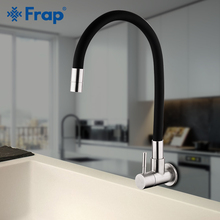 Frap Kitchen Faucet Black single cold faucet 304 stainless steel wall mounted tap wash Kitchen sink mixer brushed single faucet free shipping sus 304 stainless steel pull out spring brushed kitchen faucet deck mounted spray kitchen mixer tap
