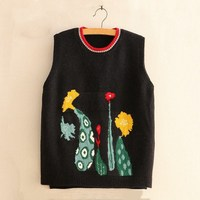 2019 Spring Autumn Embroidery Thin Vests Casual Loose Sleeveless Sweater Women O Neck Knitted Waistcoat