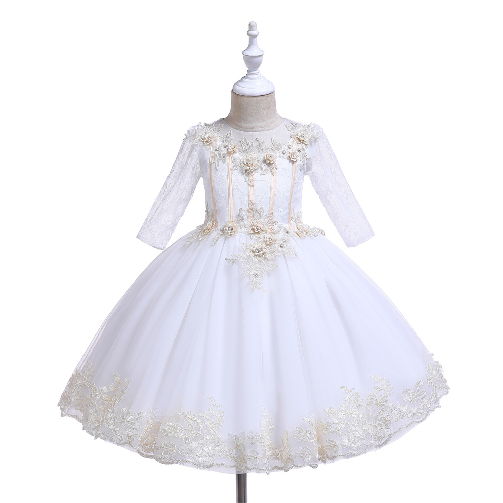 Formal Girls Party Dress Kids Long Sleeves 3D Flower Bodice Lace Embroidery Tulle Dress Girls Dance ClothingFormal Girls Party Dress Kids Long Sleeves 3D Flower Bodice Lace Embroidery Tulle Dress Girls Dance Clothing