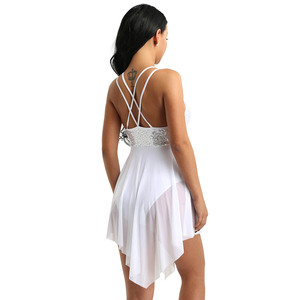 Image 3 - TiaoBug trajes de baile lírico de lentejuelas para mujer, malla asimétrica, tutú de Ballet, vestido de baile, gimnasia para adultos, leotardo