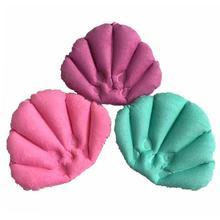 1 шт надувная махровая ткань подушка для ванной с присосками веерообразная подушка для поддержки шеи случайный цвет мягкие домашние подушки для ванной