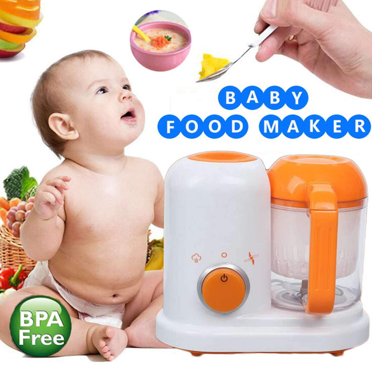 AC 200-250V Electric Baby Food Maker Toddler Blenders Steamer Processor BPA Free All In One Food-Graded PP EU Steam Food SafeAC 200-250V Electric Baby Food Maker Toddler Blenders Steamer Processor BPA Free All In One Food-Graded PP EU Steam Food Safe