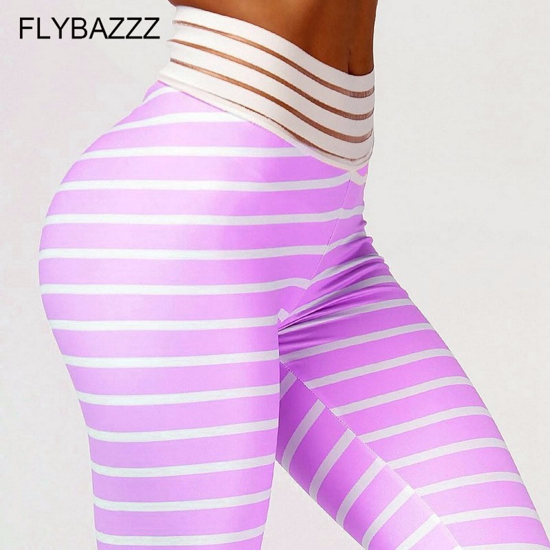 New Women Striped Printed Yoga Pants Sports Running Sportswear Stretchy Fitness Leggings Seamless Tummy Control Gym Tights Pants in Yoga Pants from Sports Entertainment