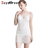 Women Full Slips 100%Rea Silk and Lace Slips For Women Sexy Under Wear 2019 White Black Beige Healthy Comfortable Slip Dress