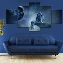 5 stuk Canvas Art Astronaut Zien Sky Aarde Poster Moderne Decoratieve Schilderijen op Canvas Wall Art voor Home Decorations Muur decor(China)