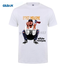 GILDAN designer t shirt Cotton O-Neck Short T-Shirt  Post Malone White Iverson T-Shirt- Casual For Clothing