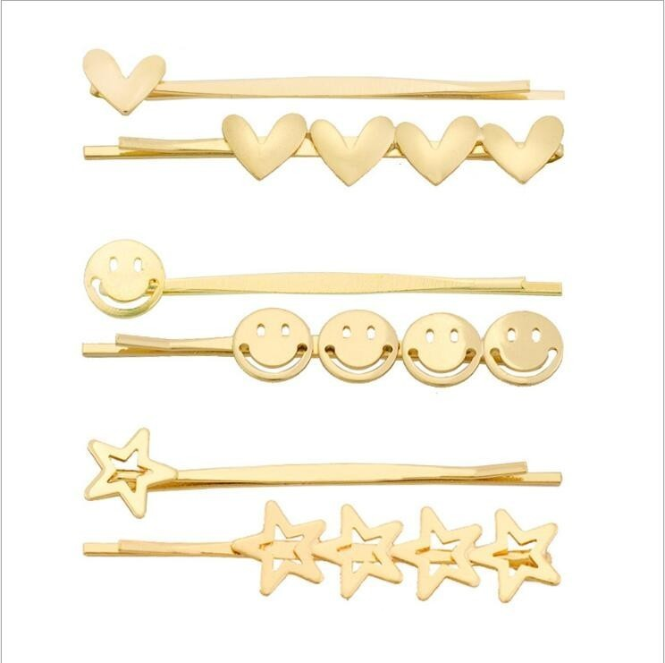 Hot Ins Korean Hair Pin For Women Vintage Metal Gold Smiley Face Mold Hairpins Sweet Heart Stars BP Bobby Pin Hair Accessories in Hair Jewelry from Jewelry Accessories