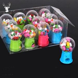 Image 1 - 12 יח\קופסא מיני מעוות ביצה חמוד פירות בעלי החיים בצורת גומי מחק סוכריות מכונת Kawaii כתיבה ספר סטודנטים מתנות