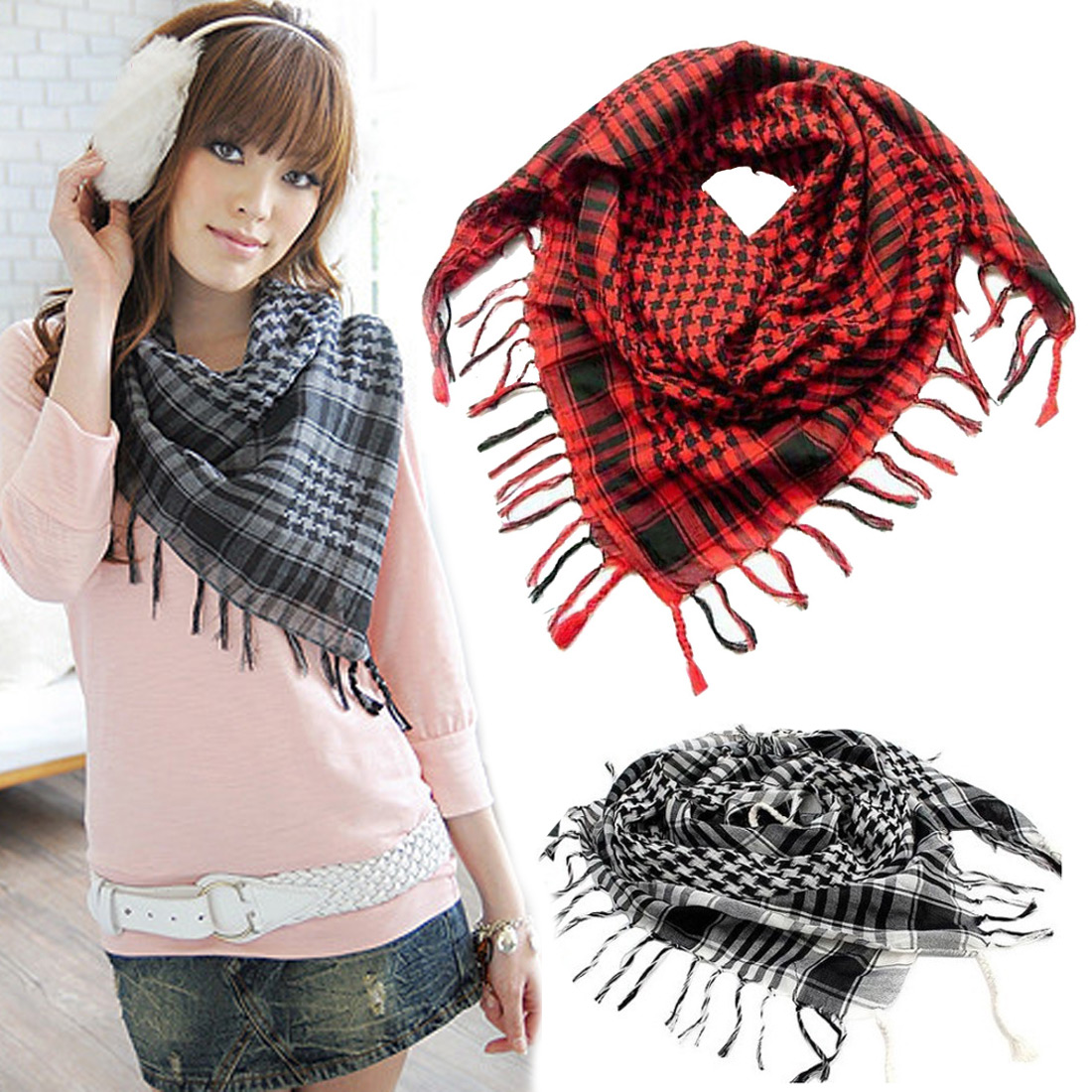 Houndstooth Square Scarf Arab Military Tactical Hijab Shawl Kafiya Wrap Hot Grid Scarves For Female Male Gifts Fringed