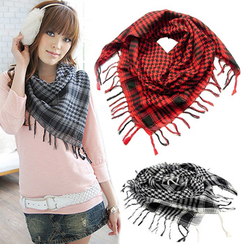 цена на Houndstooth Square Scarf Arab Military Tactical Scarf Hijab Shawl Kafiya Wrap Hot Grid Scarves For Female Male Gifts Fringed