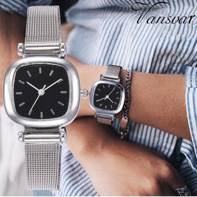 Mejor venta de moda de las mujeres de plata cuadrado de la malla de reloj  minimalista elegante pequeño fresco cuarzo de mujer de cuarzo reloj Relogio  ... d881ab2e5109