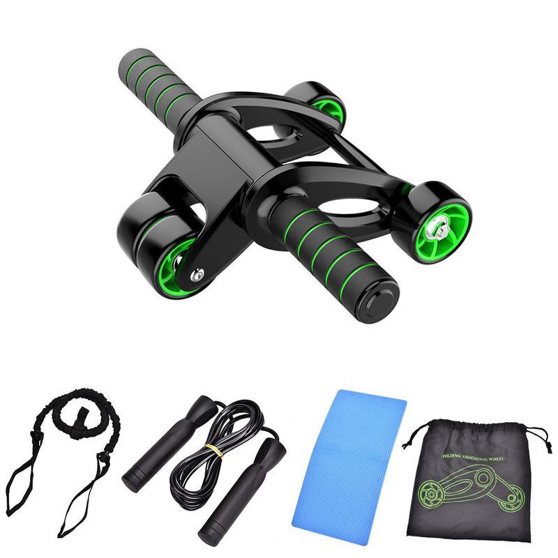 4 em 1 rolo saltar corda abdominal roda ab rolo com esteira para o exercício equipamentos de fitness acessórios construção do corpo