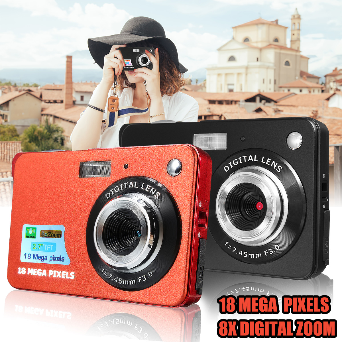 "2.7/""  HD 18MP  8x Zoom TFT 720P LCD Digital Camera Video Camcorder DV Anti-Shake"